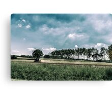 working in the field in the italian countryside Canvas Print