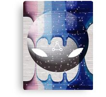 Robot Ombre Splatter Futuristic Sci-Fi Purple Pink Blue Grey Canvas Print