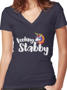 Feeling Stabby Unicorn humor Women's Fitted V-Neck T-Shirt