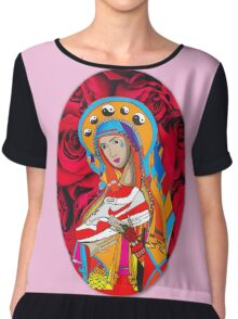 Trainer Madonna Mary Pink Red Roses Chiffon Top
