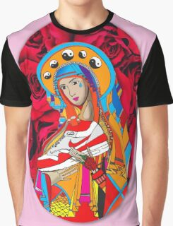 Trainer Madonna Mary Pink Red Roses Graphic T-Shirt
