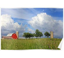Farm and Clouds Poster