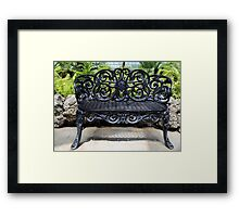 Ornate antique bench belle isle Framed Print