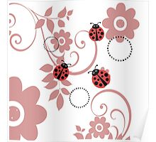 ladybugs and flowers Poster