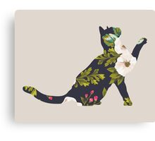 Floral Playing Cat Canvas Print