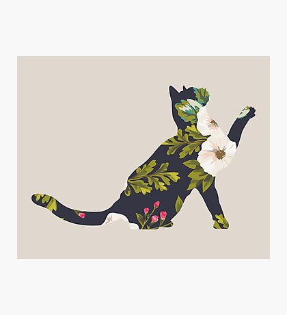 Floral Playing Cat Photographic Print