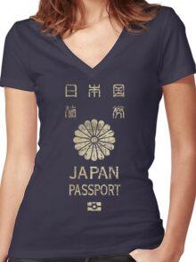 Japanese Passport Women's Fitted V-Neck T-Shirt
