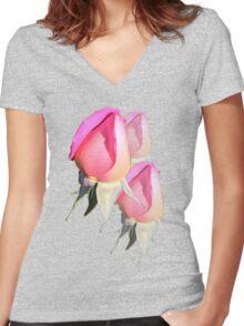 Pink Rosebud  Women's Fitted V-Neck T-Shirt