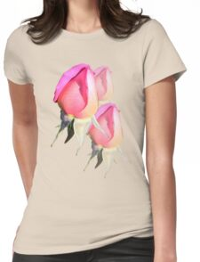 Pink Rosebud  Womens Fitted T-Shirt