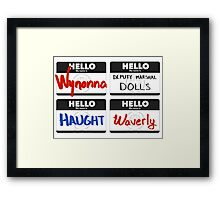 Black Badge Tags Framed Print