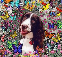 Lady in Butterflies - Brittany Spaniel by Diane Clancy