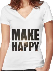 Bo Burnham: Make Happy Women's Fitted V-Neck T-Shirt