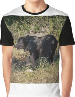 Baby elephant appearing to dance down slope Graphic T-Shirt