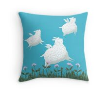 Flying Sheep Meadow Larks Throw Pillow