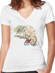 Grunge Doodle/Watercolour Women's Fitted V-Neck T-Shirt