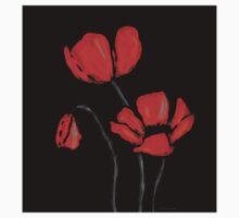 Red Poppies On Black by Sharon Cummings Kids Tee