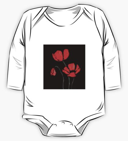 Red Poppies On Black by Sharon Cummings One Piece - Long Sleeve