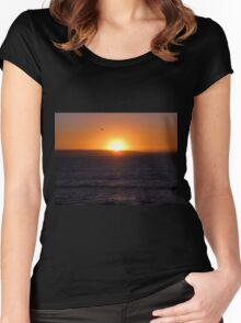 Sunset over the sea Women's Fitted Scoop T-Shirt