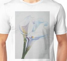 THREE GORGEOUS AND DELICATE CALLA LILIES Unisex T-Shirt
