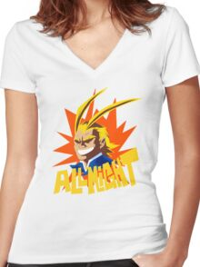 ALL MIGHT!!!!! Women's Fitted V-Neck T-Shirt