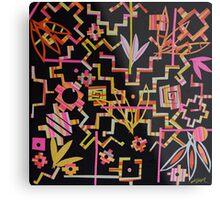 Black, Yellow, Pink Chakana Mash-up Metal Print