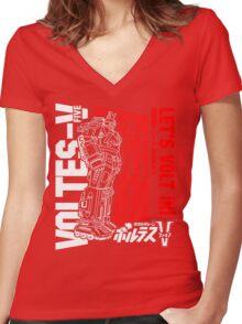 NEW VOLTES V 5 FIVE RETRO MECHA ANIME ROBOT  Women's Fitted V-Neck T-Shirt