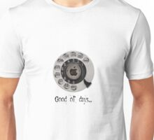 Traditional rotary telephone dial. Apple. Unisex T-Shirt