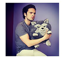 Sebastian stan and wolf plushie  Photographic Print