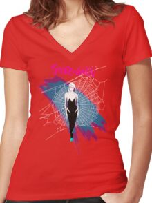 Spider Gwen  Women's Fitted V-Neck T-Shirt