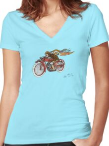 INDIAN MOTORCYCLE STEAMPUNK STYLE Women's Fitted V-Neck T-Shirt
