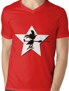 Super Chicken silhouette Mens V-Neck T-Shirt