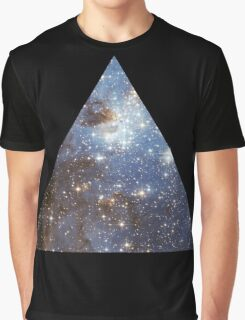 Blue Galaxy Triangle Graphic T-Shirt