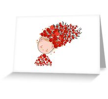 Doodle flowers beautiful girl face Greeting Card