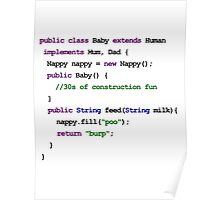 Java Code New Baby - implements Mum, Dad Poster