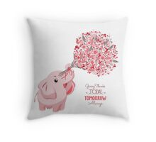 Cute card with lovely elephant. elephant with a flowers bouquet Throw Pillow