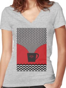 a damn fine cup of coffee Women's Fitted V-Neck T-Shirt
