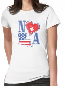 I Heart NOLA (Red White & Blue) Womens Fitted T-Shirt