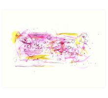 Pink and Yellow Watercolour Abstract Painting Art Print