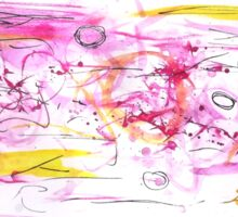 Pink and Yellow Watercolour Abstract Painting Sticker