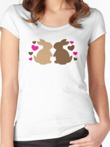 Chocolate bunnies in love Women's Fitted Scoop T-Shirt