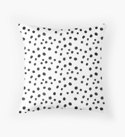 Small Black Watercolor Abstract Polka Dots Throw Pillow