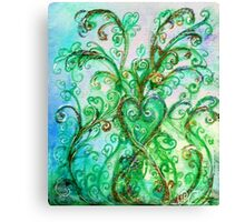GREEN HEART WITH  WHIMSICAL FLOURISHES Canvas Print