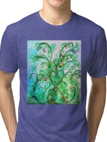GREEN HEART WITH  WHIMSICAL FLOURISHES Tri-blend T-Shirt
