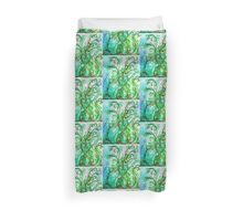 GREEN HEART WITH  WHIMSICAL FLOURISHES Duvet Cover
