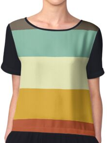 Stripes Graphic Three Chiffon Top