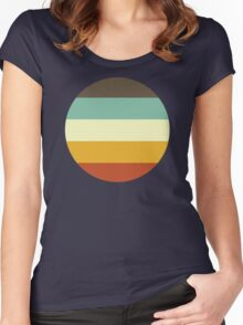 Stripes Graphic Three Women's Fitted Scoop T-Shirt