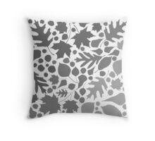 Gray Maple Oak Leaves Nature Minimalist Winter Leaf Shadows Quilt Throw Pillow