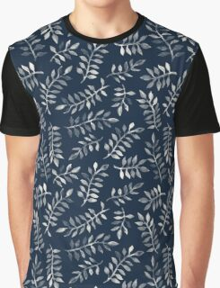 White Leaves on Navy - a hand painted pattern Graphic T-Shirt