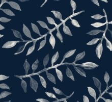 White Leaves on Navy - a hand painted pattern Sticker