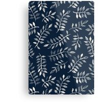White Leaves on Navy - a hand painted pattern Metal Print